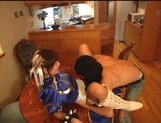 Japanese model in uniform gets a hard drilling in her pussy