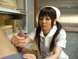 Pigtailed Japanese nurse Yurika Miyaji performs arousing wank picture 10