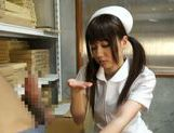 Pigtailed Japanese nurse Yurika Miyaji performs arousing wank picture 11
