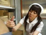 Pigtailed Japanese nurse Yurika Miyaji performs arousing wank picture 12