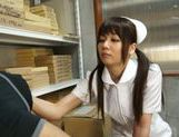 Pigtailed Japanese nurse Yurika Miyaji performs arousing wank
