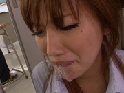 Deepthroat oral along naughty Kokone Mizutaniasian sex pussy, asian schoolgirl}