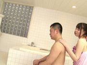 Koharu Suzuki sexy Asian teen gives an oil massage