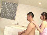Koharu Suzuki sexy Asian teen gives an oil massage
