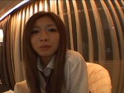Lovely Japanese AV model has some fun with pussy poking