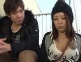 Busty Japanese milf gets pounded outdoors