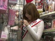 Naughty milf Yui Akane drills pussy in front of voyeur