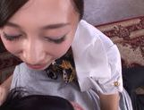 Hot stewardess Miki Horiuchi pleases a horny passanger picture 12
