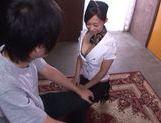 Hot stewardess Miki Horiuchi pleases a horny passanger