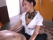 Hot stewardess Miki Horiuchi pleases a horny passanger