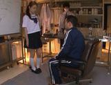 Innocent looking Yuri Hasegawa is teased by two dudes picture 1