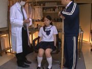 Innocent looking Yuri Hasegawa is teased by two dudes