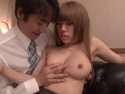 Blonde office lady in fancy stockings Chisa Hoshino enjoys rear fuckasian ass, japanese pussy}