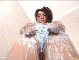 Chihiro Kawaoka Asian model shows off and is covered in soap picture 11