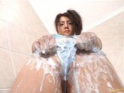 Chihiro Kawaoka Asian model shows off and is covered in soap