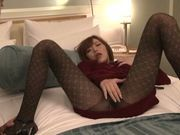 Beautiful Japanese milf Rika Aiuchi rubs slit and gets nailed