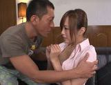 Lusty teacher Yuu Namiki in sexy pantyhose rides cock picture 15