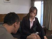 Lusty teacher Yuu Namiki in sexy pantyhose rides cock