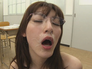 Sleazy Kanako Iioka blows cock in the classroomjapanese porn, asian schoolgirl}