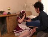 Sexy Asian maid in fancy dress Ai Sayama enjoys pussy fucking