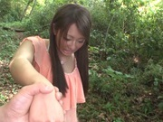 Outdoor blowjob with a staggering Japanese doll