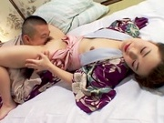 Alluring Asian housewife enjoys pussy licking and bounces on cockasian girls, young asian}