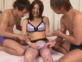 Horny Asian chick Miho Uemura enjoys sex in a threesome