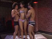Busty asian hottie Nana Ogura loves it in threes