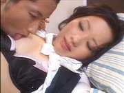 JApanese AV model is sexy in her stockings and gets fucked