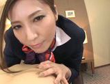 Yuna Shiina is a cock sucking stewardess