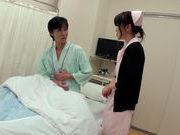 Huge breasted nurse Miina Kanno gets bent over and fucked