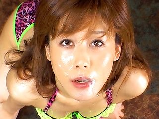 Hime Kamiya Asian model enjoys bukkake