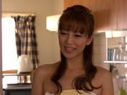 Cum on body of adorable Asian lady Ryo Hitomi