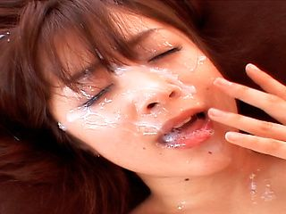 One Mihiro Asian lady gets a cum facial