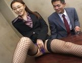 Senna Kurosaki Asian doll gets hard office bukkake picture 3