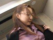 Senna Kurosaki Asian doll gets hard office bukkake