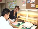Busty Japanese teacher gets lots of facial cumshot