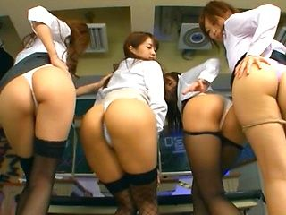 Steaming Japanese milfs arrange rough gangbang session