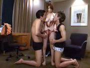 Naughty Yuka enjoys two men for a fuckingasian anal, japanese sex}
