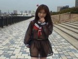 Mikan Lovely Asian student shocks the guys while out walking