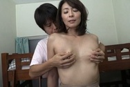 Kinky mature Japanese teacher Hisae Yabe gives a handwok and sucks cockbig boobs, hot tits
