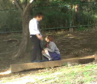 Hot Asian student has outdoor sex in the park