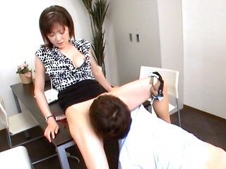 Hot mature chick in office suit Ai Komori pussy stimulation