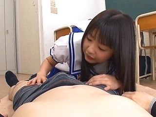 Two Asian schoolgirls share thick rod and ride it hard