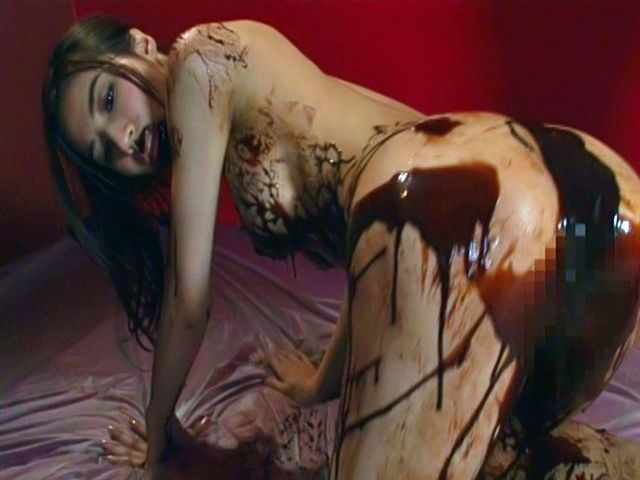 Anri Suzuki is covered in chocolate and gets a rear fucking