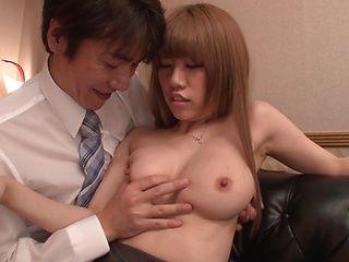 Blonde office lady in fancy stockings Chisa Hoshino enjoys rear fuck