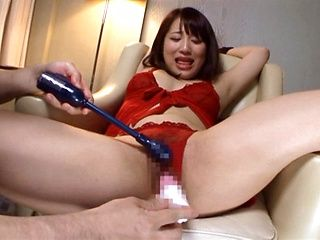 Sexy Japanese AV model in red lingerie gets drilled by toy