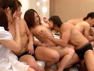 Naughty Rina Ooshima enjoys a wild orgy and hardcore sex