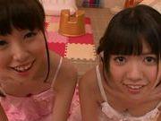 Teen gals Kana Aono and Minami Hirahara suck rod