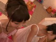 Teen gals Kana Aono and Minami Hirahara suck rod